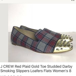 J Crew red plaid Darby gold studded ballet flats 8